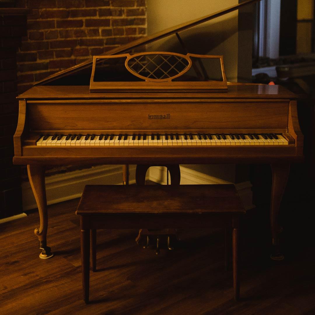 Small Brown Upright Kimball Piano