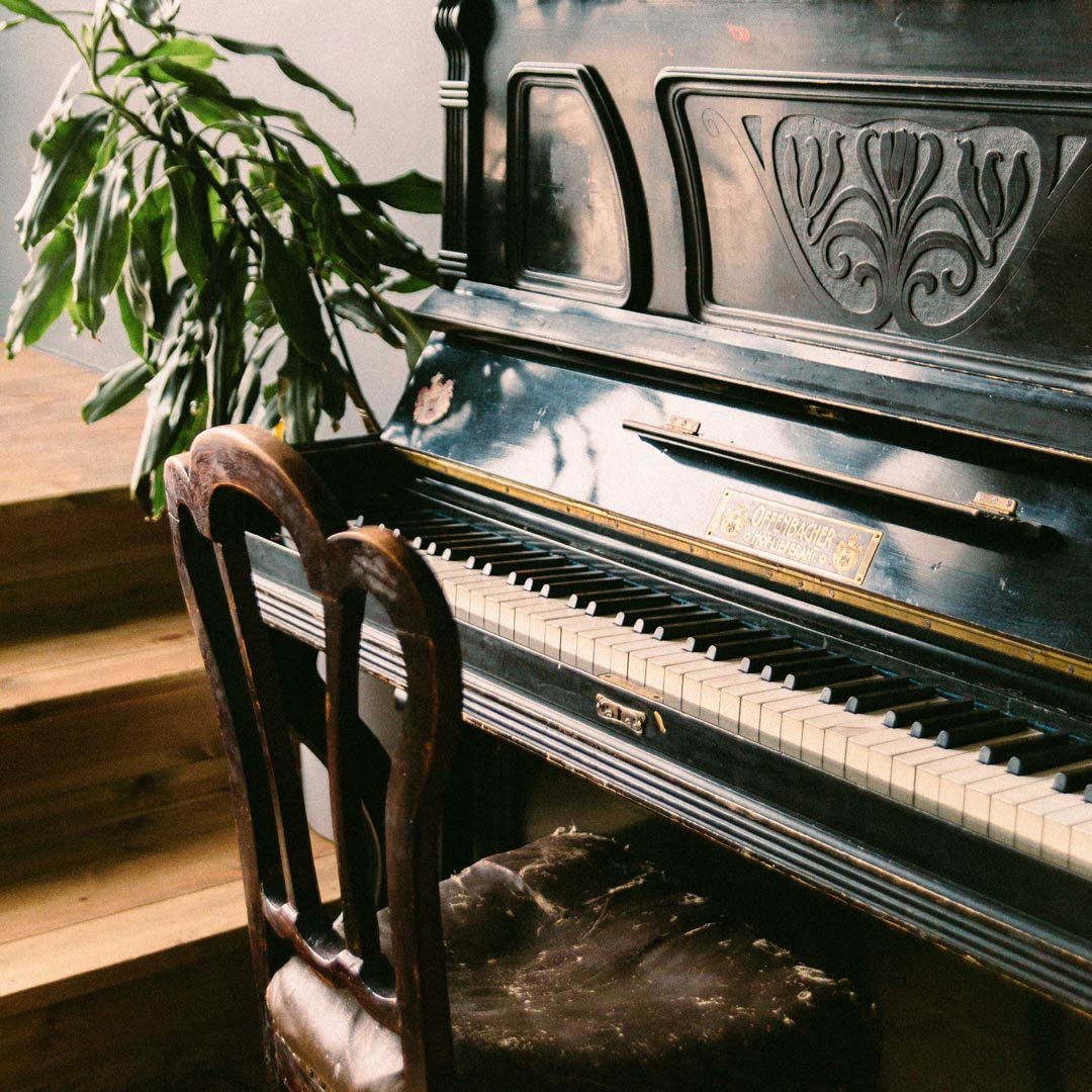 Vintage Black Upright Piano